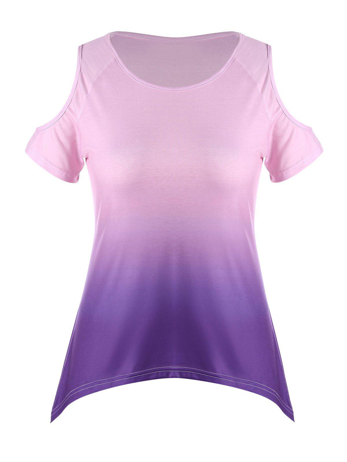 Ombre Plus Size Asymmetric Cold Shoulder T-shirt - PURPLE 3XL