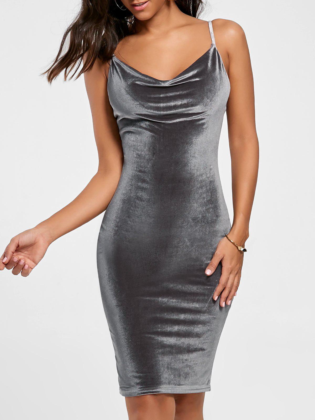 Spaghetti Strap Cut Out Fitted Velvet Bodycon Dress