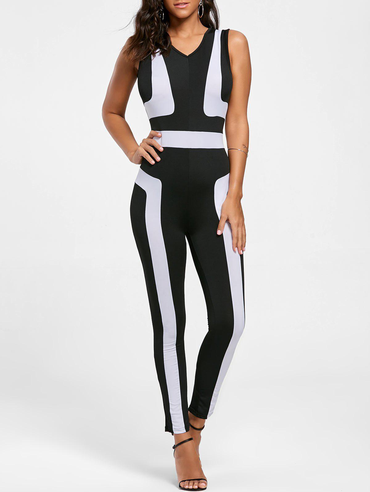V Neck Color Block Skinny Jumpsuit - BLACK M