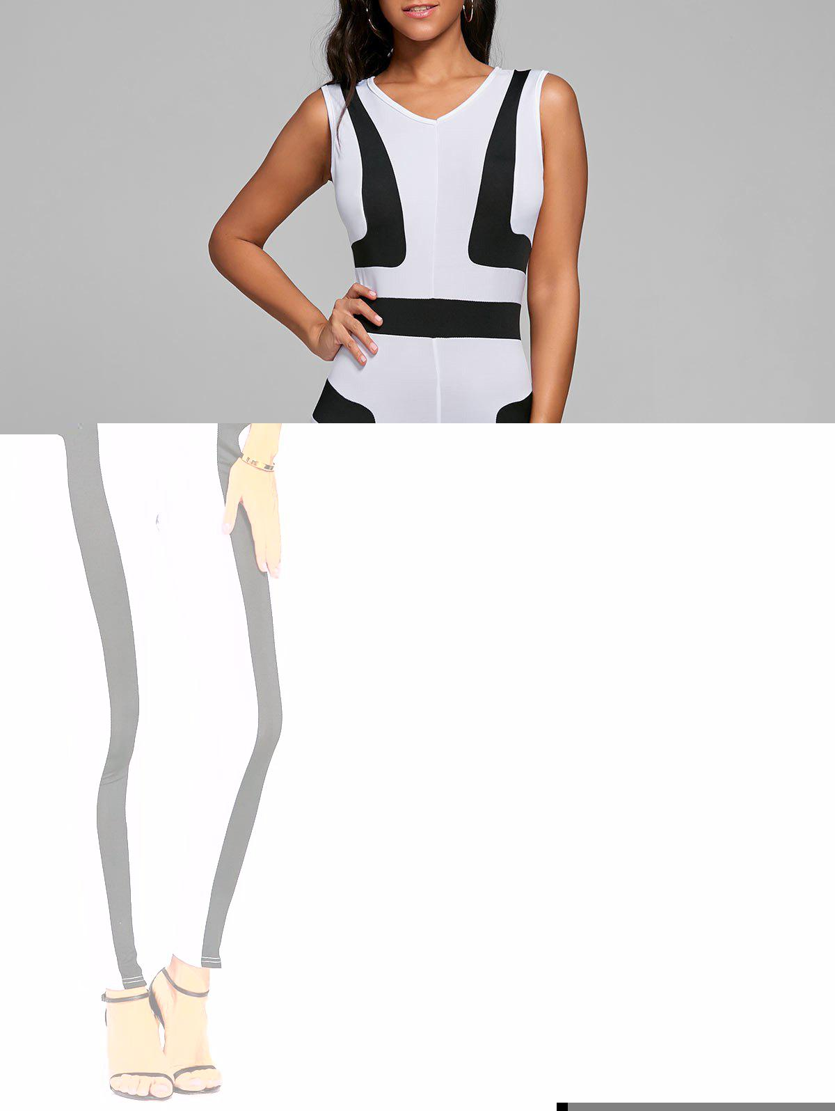 V Neck Color Block Skinny Jumpsuit - WHITE S