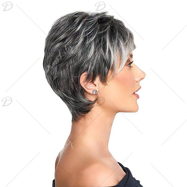 Short Side Bang Colormix Shaggy Layered Straight Synthetic Wig - Noir et Gris 8INCH