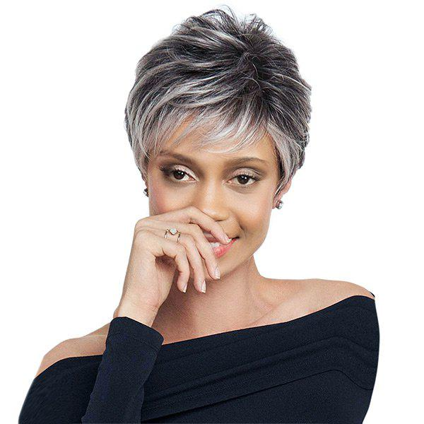 Short Side Bang Colormix Shaggy Layered Straight Synthetic Wig short