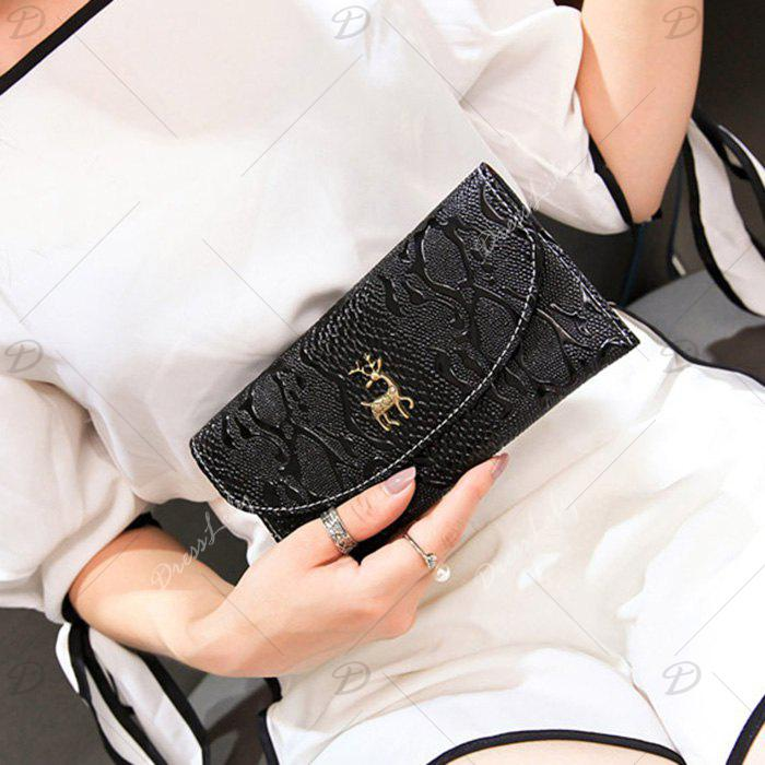 Embossed Faux Leather Clutch Wallet - BLACK
