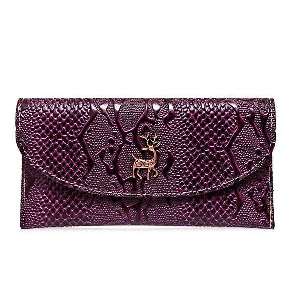 Portefeuille Embossed Faux Leather Clutch - Pourpre