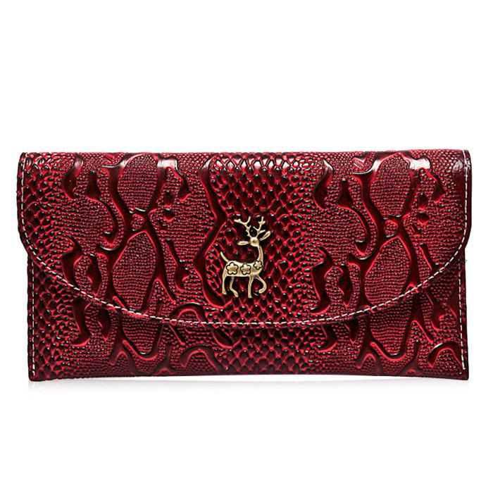 Embossed Faux Leather Clutch Wallet - WINE RED