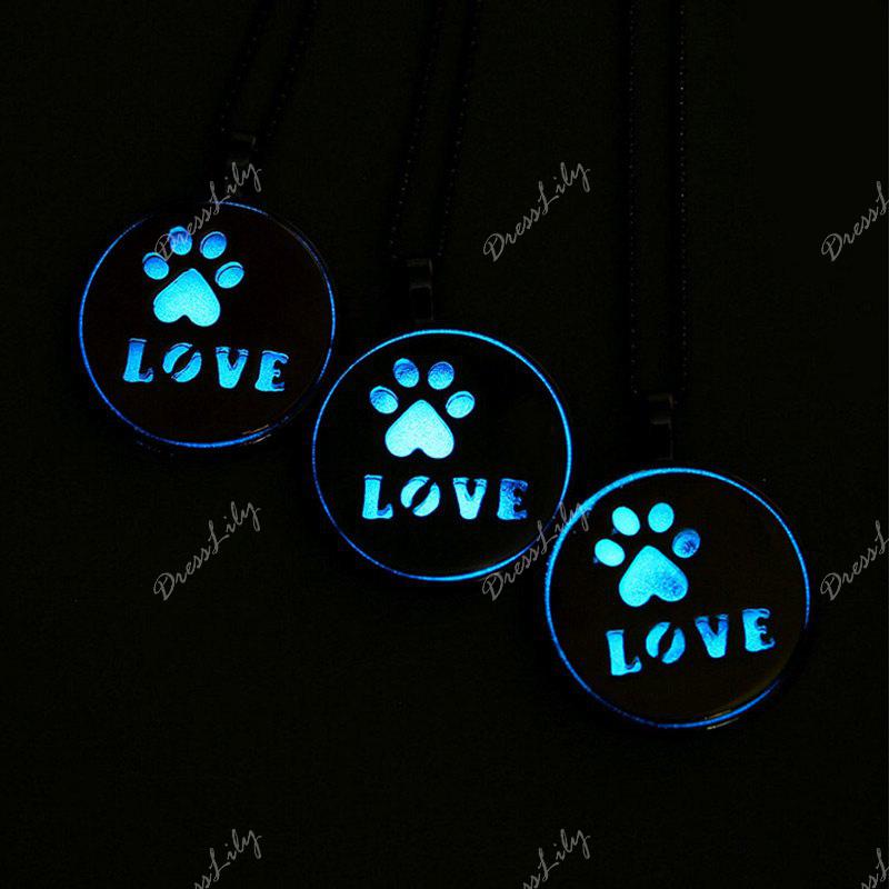 Love Glow in the Dark Claw Footprint Collier - Or Rose