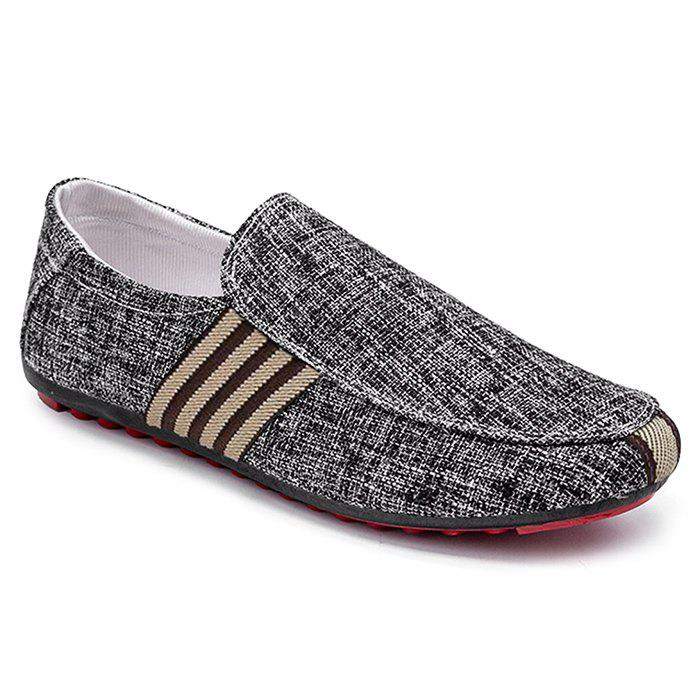 Stripe Trim Casual Slip On Shoes - Noir 41