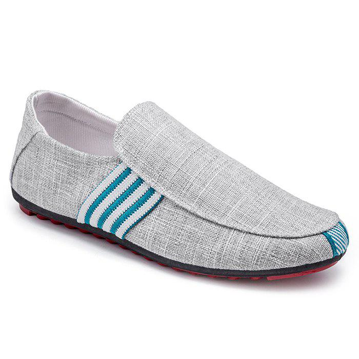 Stripe Trim Casual Slip On Shoes - gris 42