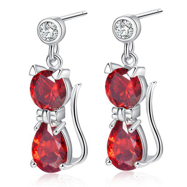 Boucles d'Oreilles Pendantes Design Chat Incrusté de Diamants Fantaisies - Rouge Clair