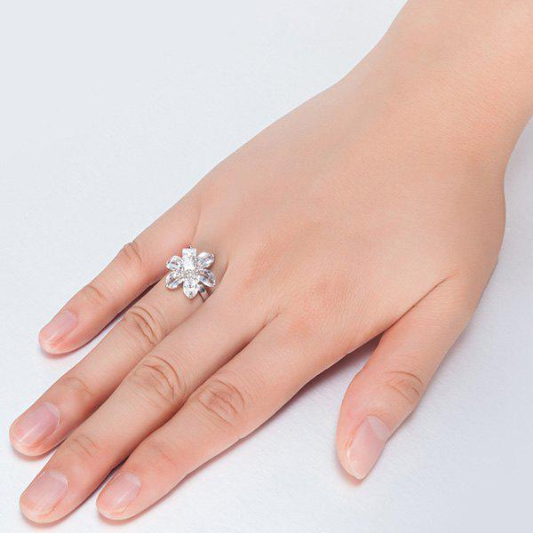Flower Shape Artificial Crystal Inlaid Ring - SILVER 7