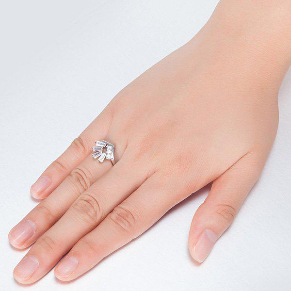 Artificial Gem Inlay Geometrical Ring - SILVER 8