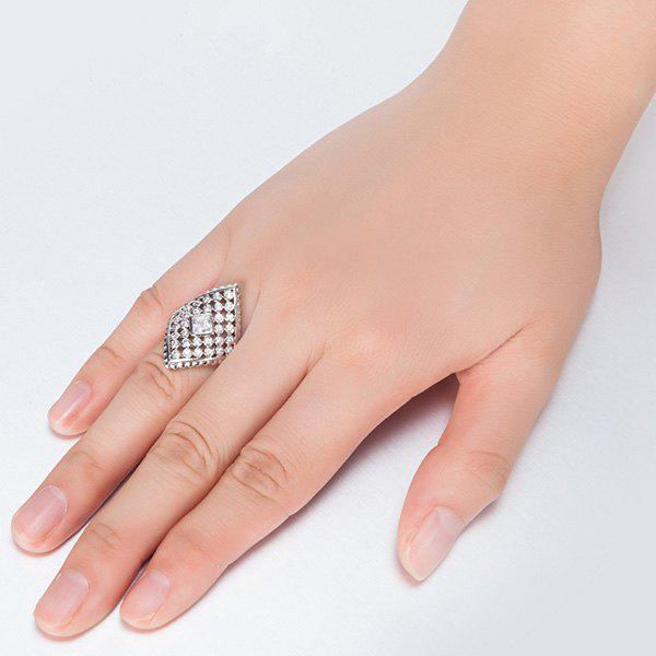 Faux Diamond Inlaid Rhombic Shape Ring - SILVER 7