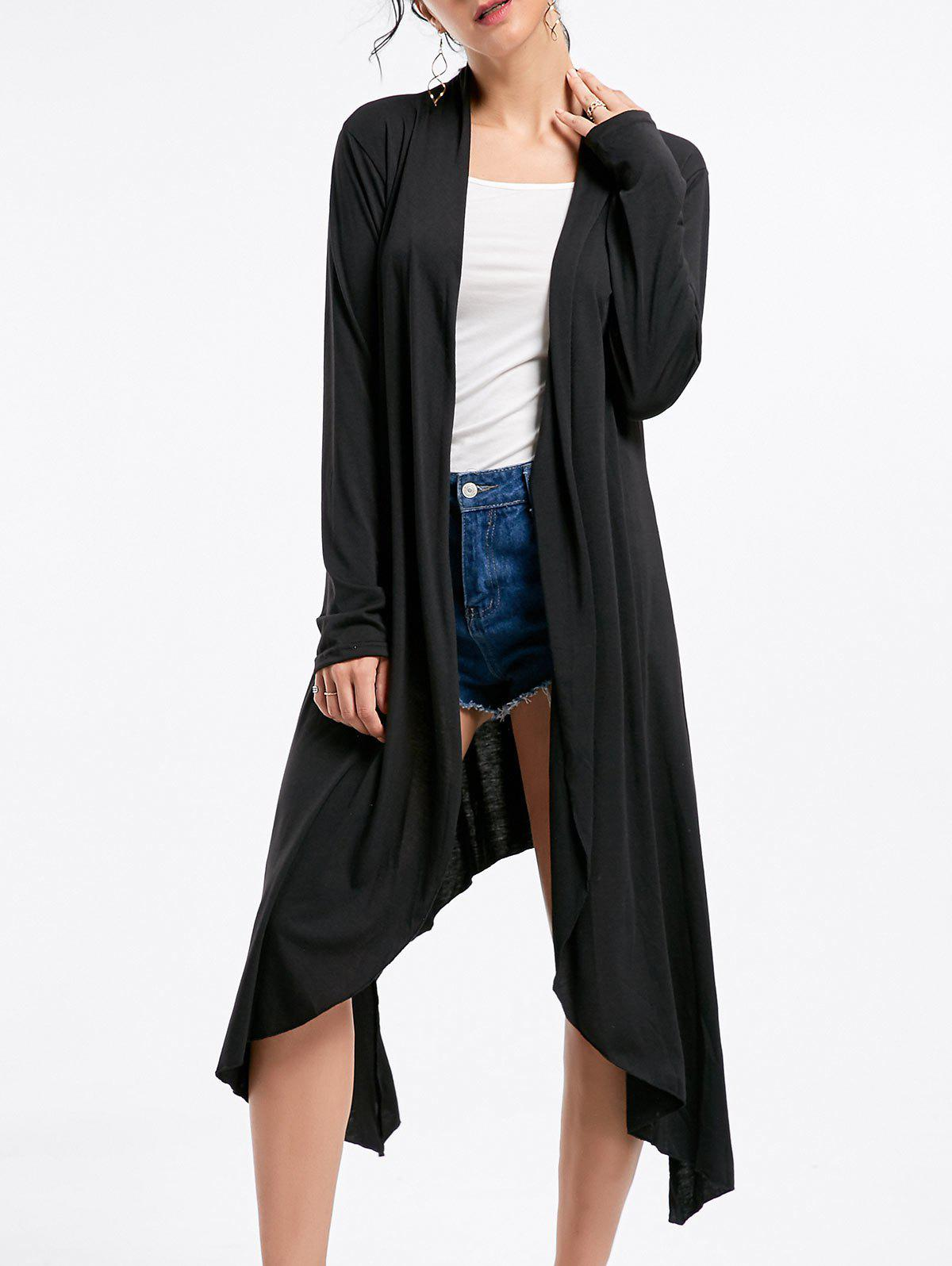 2018 Open Front Long Sleeve High Low Cardigan BLACK L In Sweaters ...