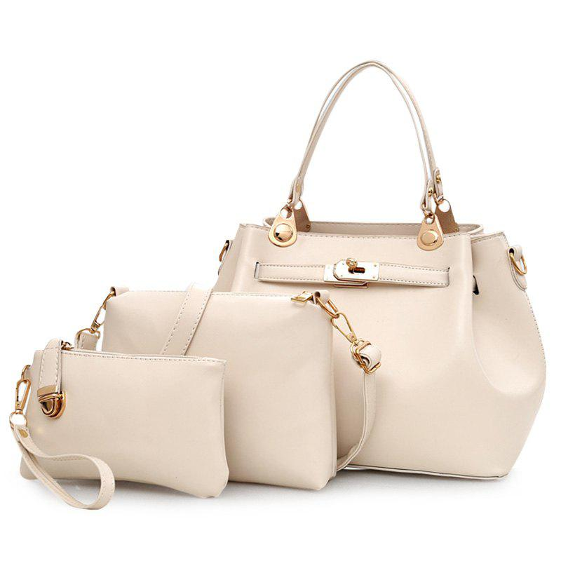 3 Pieces PU Leather Tote Bag Set - OFF WHITE