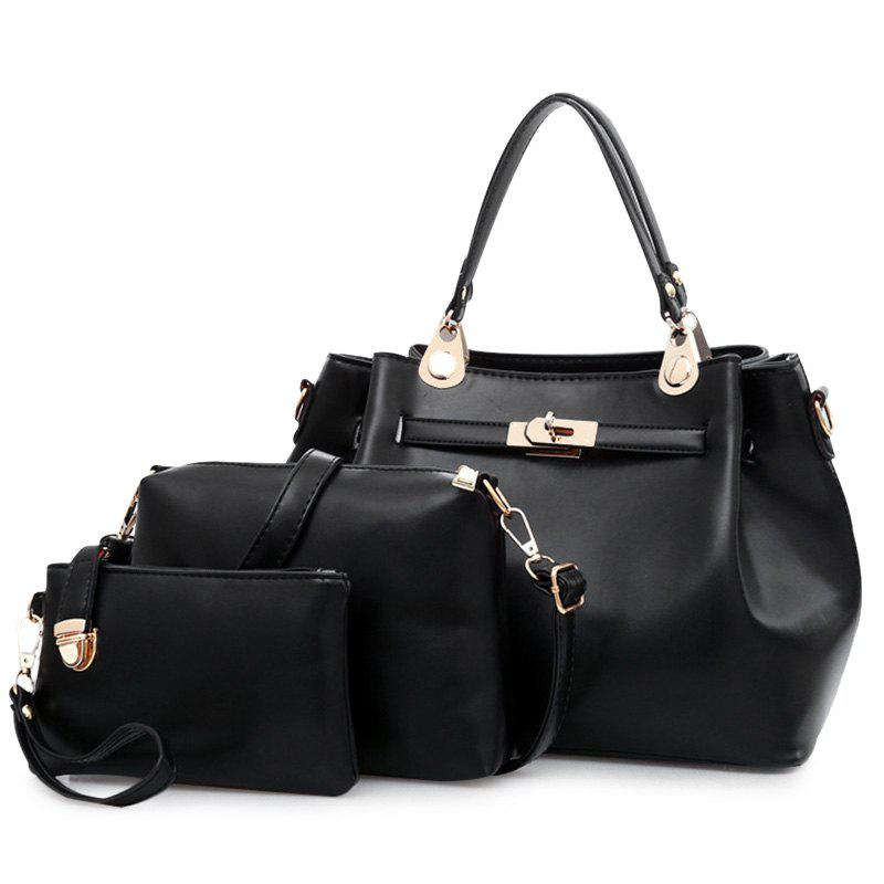 3 Pieces PU Leather Tote Bag Set - BLACK