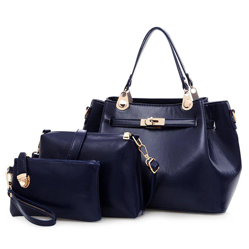 3 Pieces PU Leather Tote Bag Set - DEEP BLUE