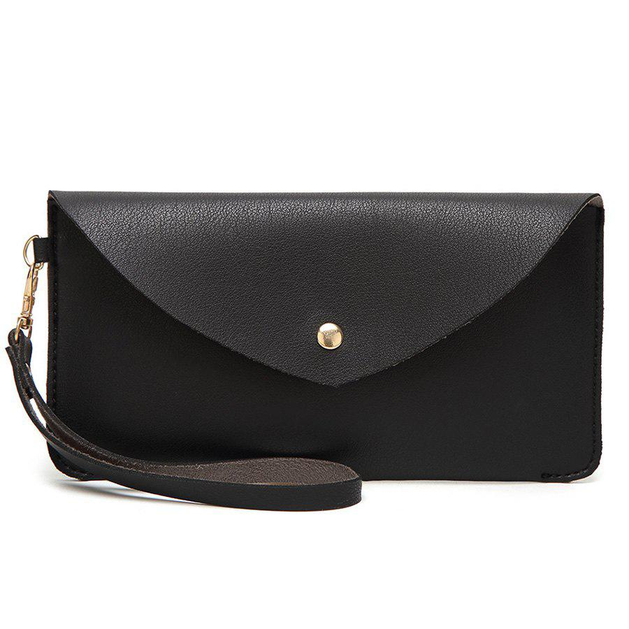 PU Leather Envelope Clutch Bag - BLACK