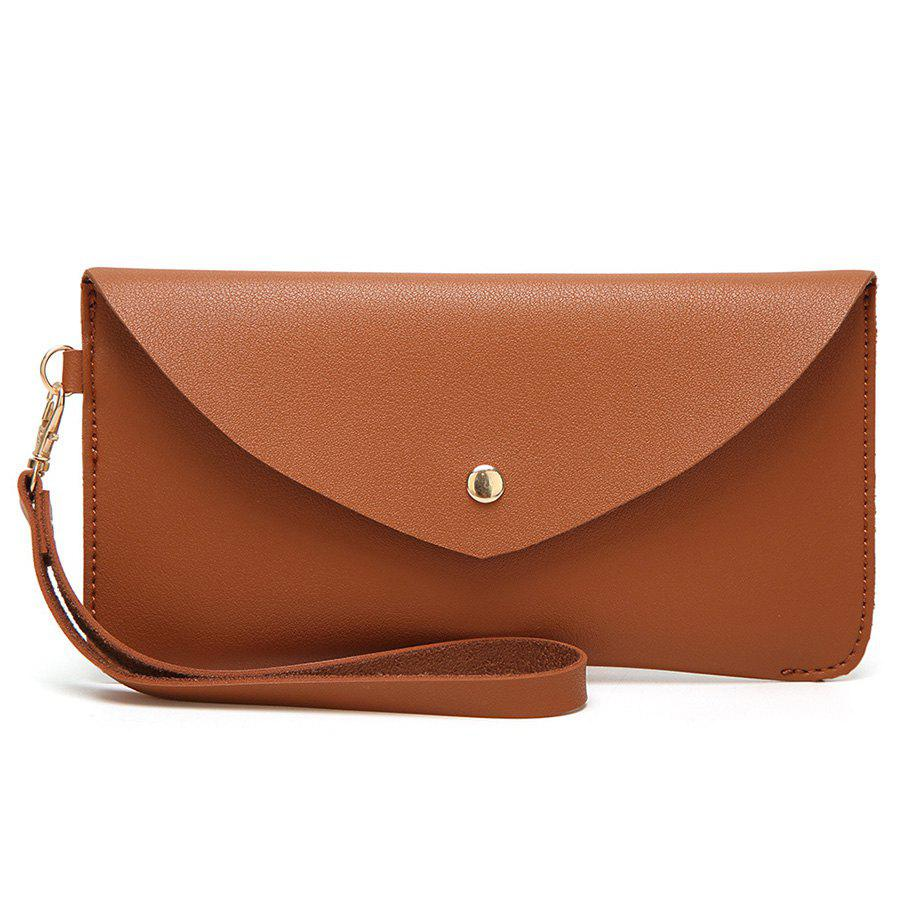 PU Leather Envelope Clutch Bag - BROWN