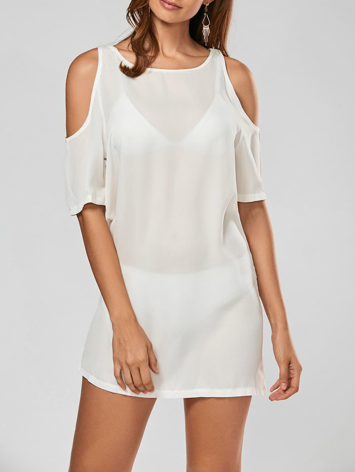 Cold Shoulder Mini Shift Chiffon Dress - WHITE L