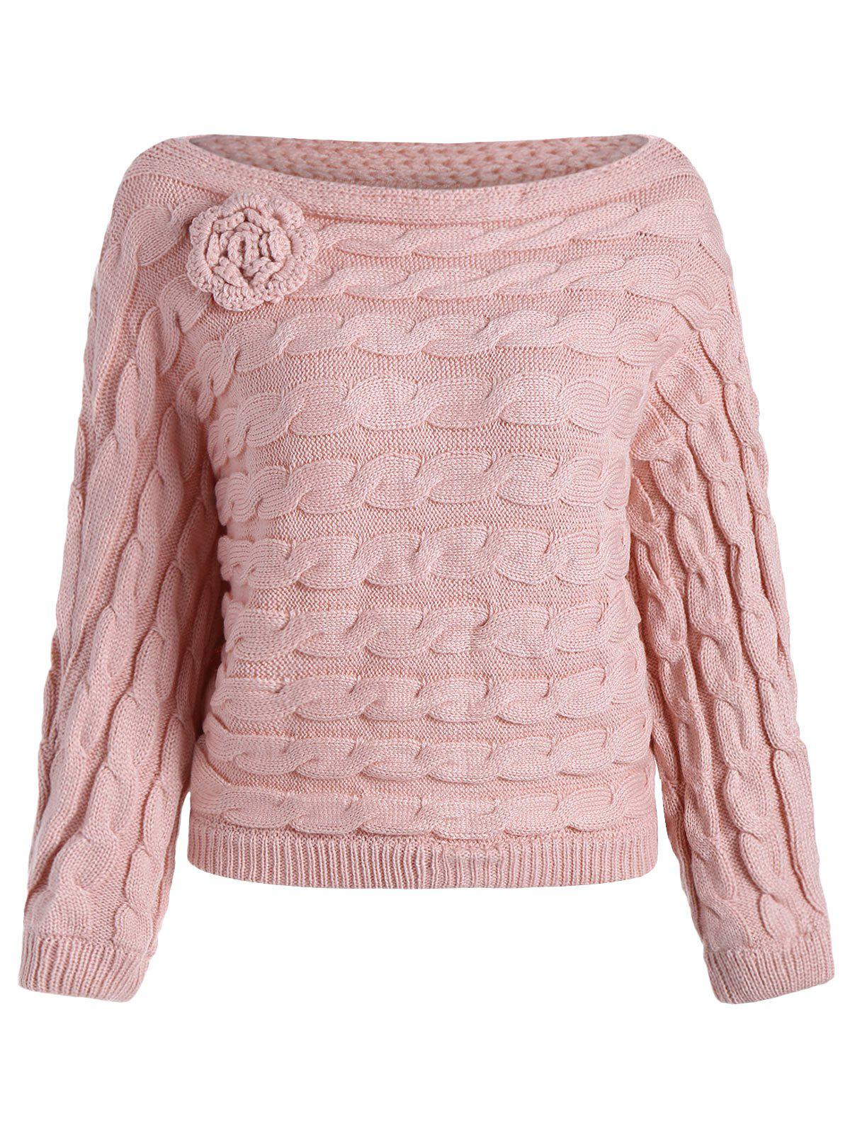 Slash Neck Knit Jumper Sweater - DEEP PINK ONE SIZE(FIT SIZE XS TO M)