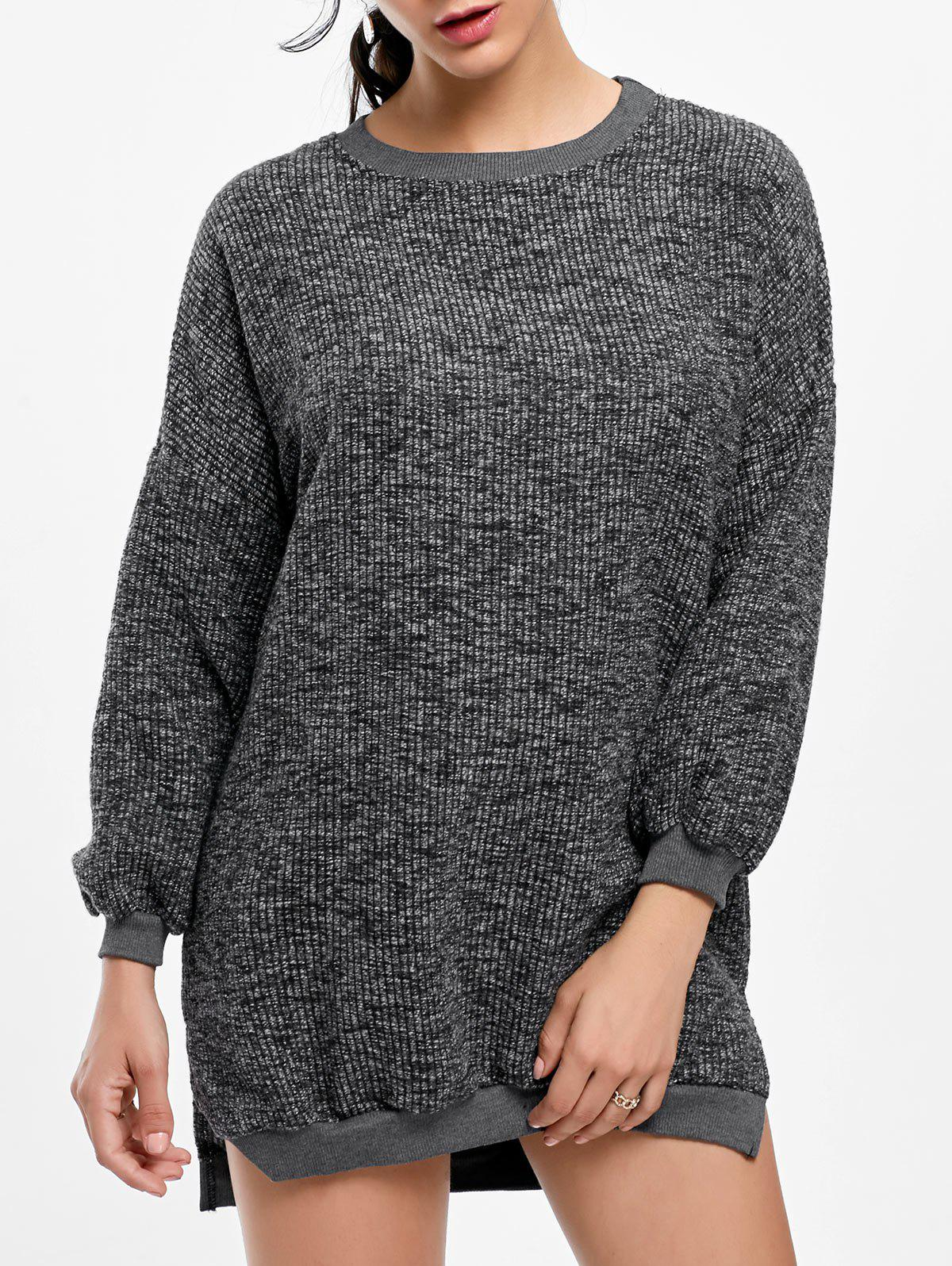 Crew Neck Slit Ribbed Sweater Dress - GRAY ONE SIZE