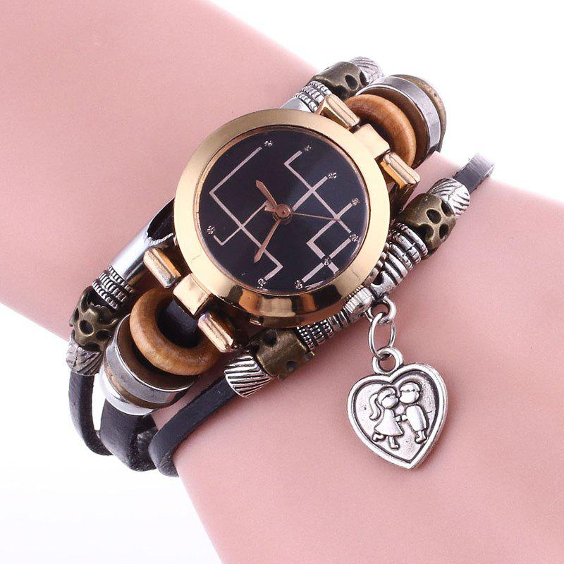 Lover Heart Layered Bracelet Watch - Noir