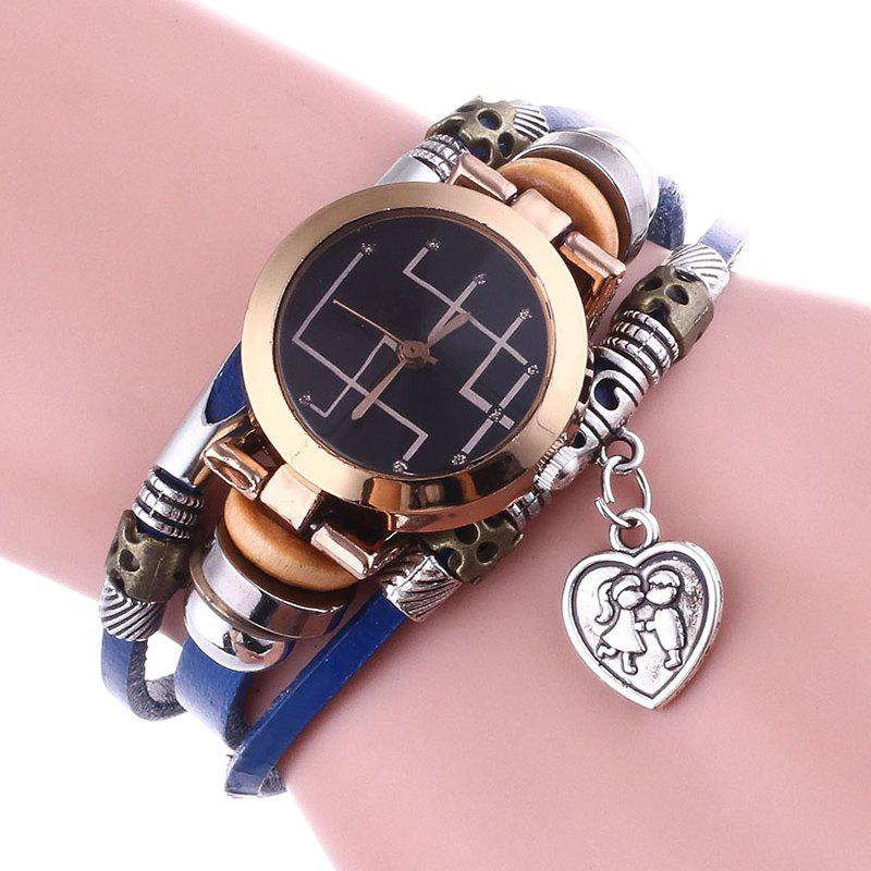 Lover Heart Layered Bracelet Watch - Bleu