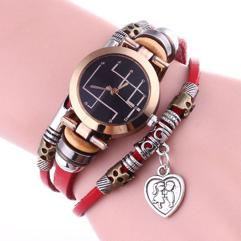 Lover Heart Layered Bracelet Watch - Rouge
