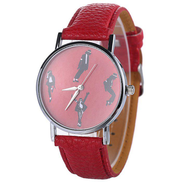 Faux Leather Strap Michael Jackson Pattern Watch - RED