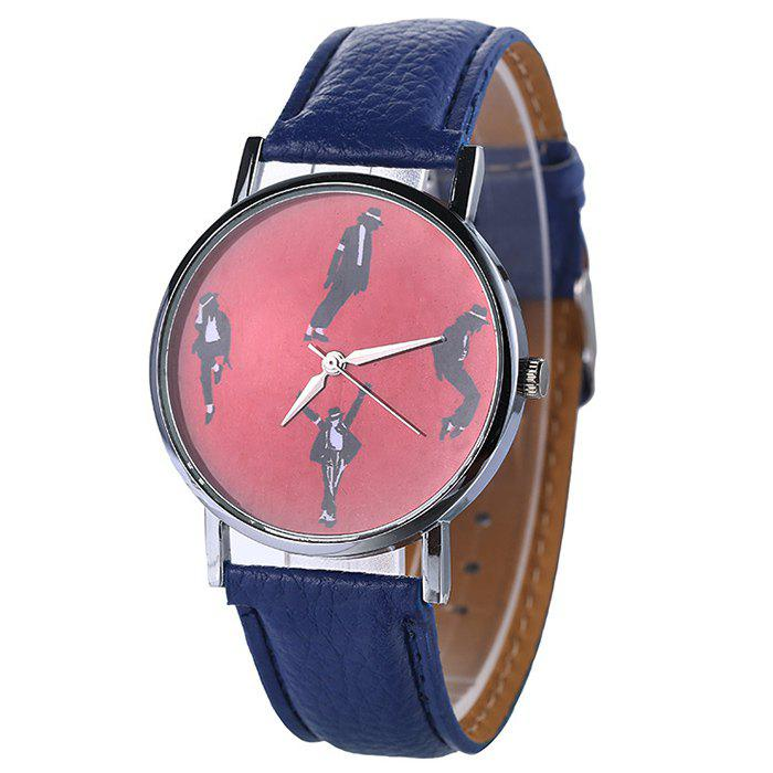Bracelet en similicuir Michael Jackson Pattern Watch - Bleu