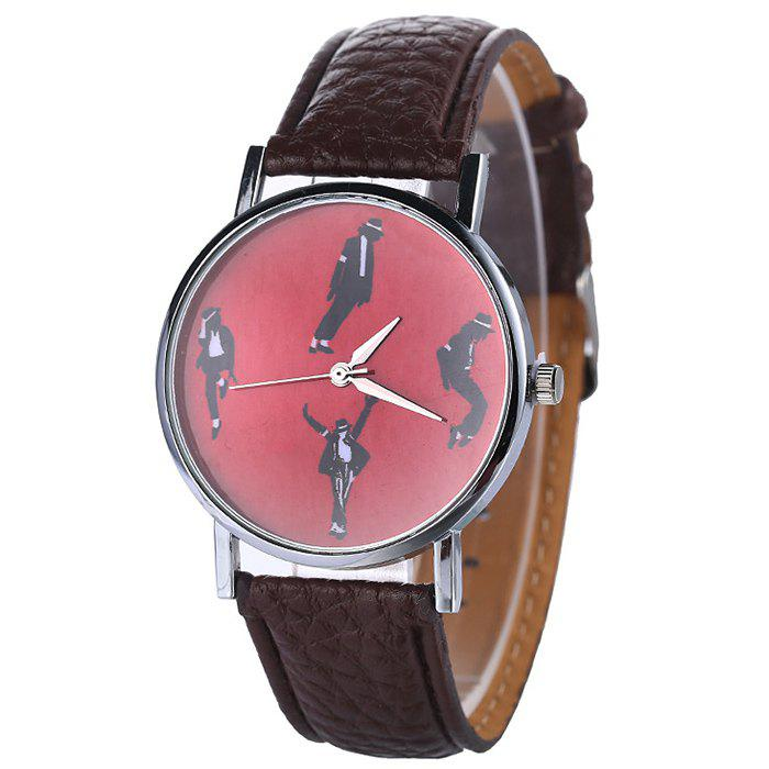 Bracelet en similicuir Michael Jackson Pattern Watch - Brun