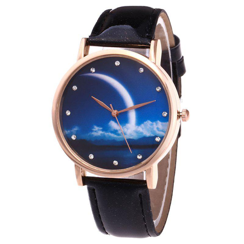 Night View Face Faux Leather Watch - BLACK