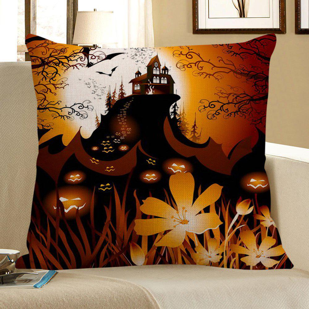 Pumpkin Face Floral Pattern Halloween Pillow Case - BLACK/ORANGE W18 INCH * L18 INCH
