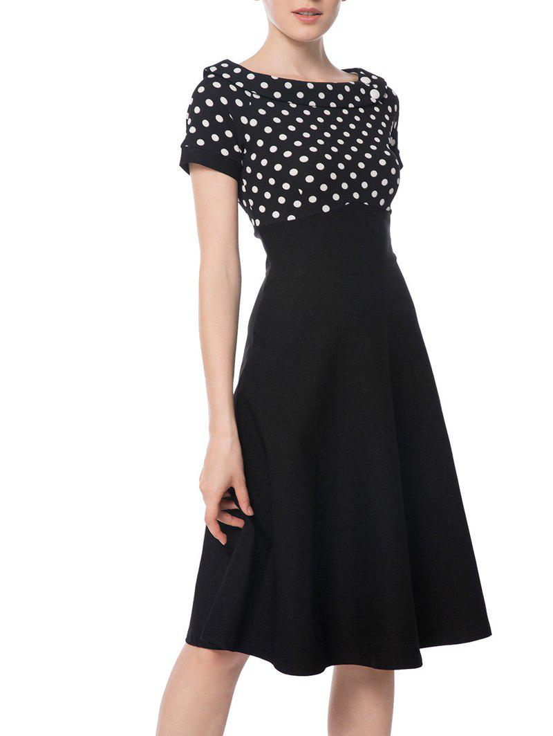 Polka Dot Boat Neck Empire Waist Dress - BLACK XL