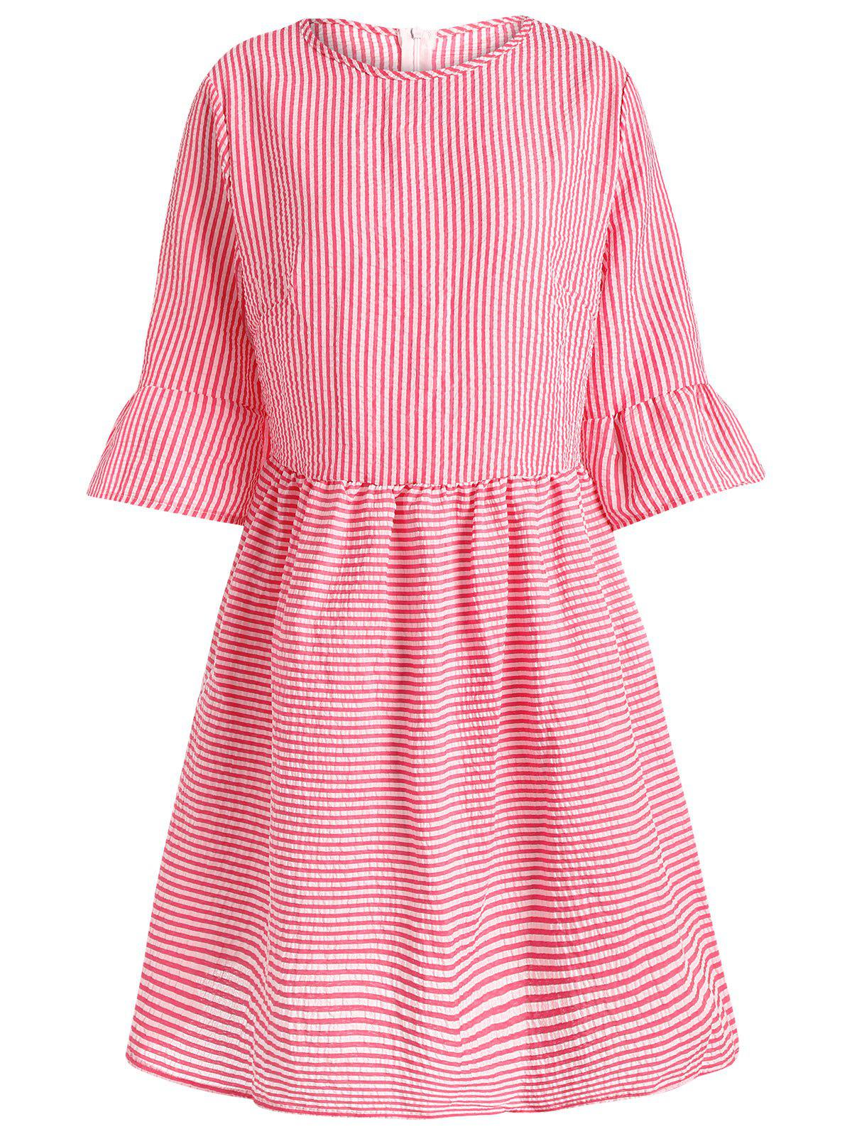Flare Sleeve Casual Striped Dress - RED M