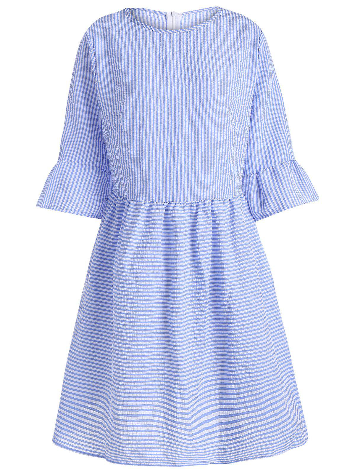 Flare Sleeve Casual Striped Dress - BLUE S