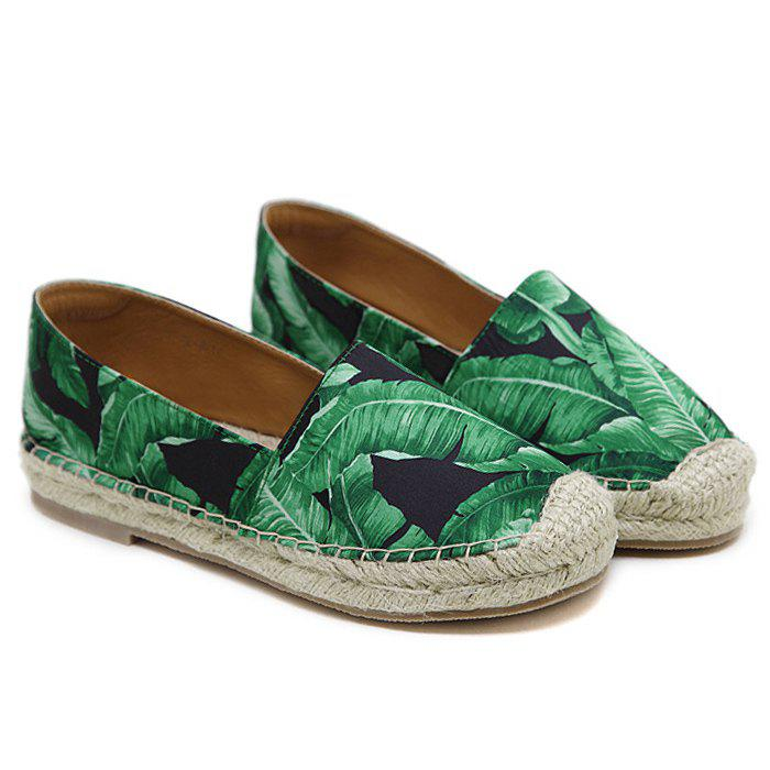 Tropical Printed Espadrille Flats - BLACK 39