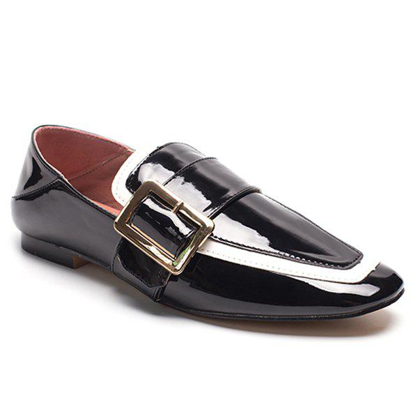 Buckle Strap Square Toe Loafers - Noir 39
