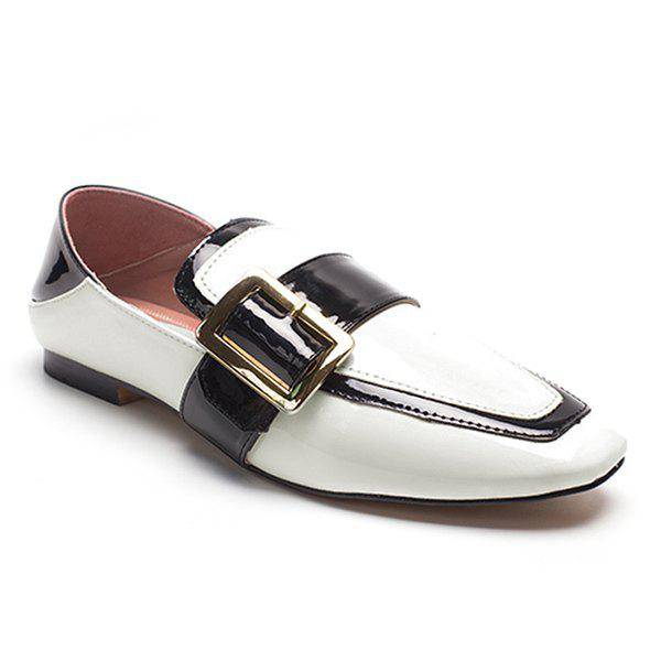 Buckle Strap Square Toe Loafers - WHITE 39