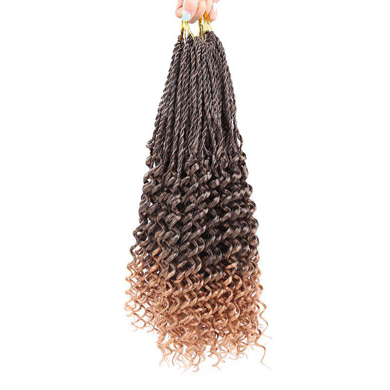 Crochet Pre Twisted Flashy Curl Long Braids Hair Extensions - BROWN 16INCH