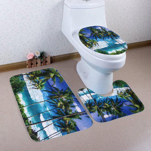 3Pcs/Set Coral Fleece Seaside Palm Tree Toilet Rugs - COLORMIX