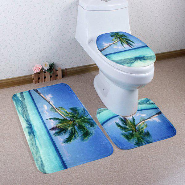 3Pcs Sea Landscape Soft Absorbent Toilet Mats Set - BLUE