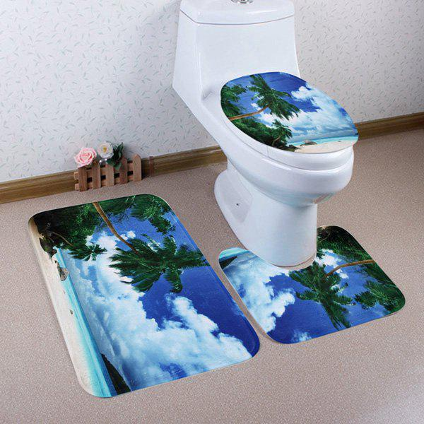 3Pcs/Set Beach Scenic Toilet Lid Pedestal Rug Floor Mats toilet time floor golf game set