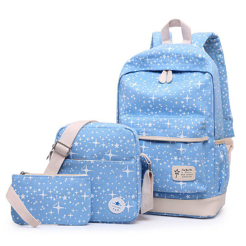 3 Pieces Star Print Canvas Backpack Set - AZURE