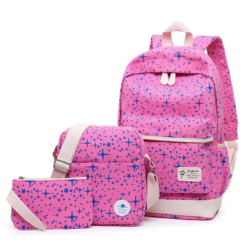 3 Pieces Star Print Canvas Backpack Set - PINK