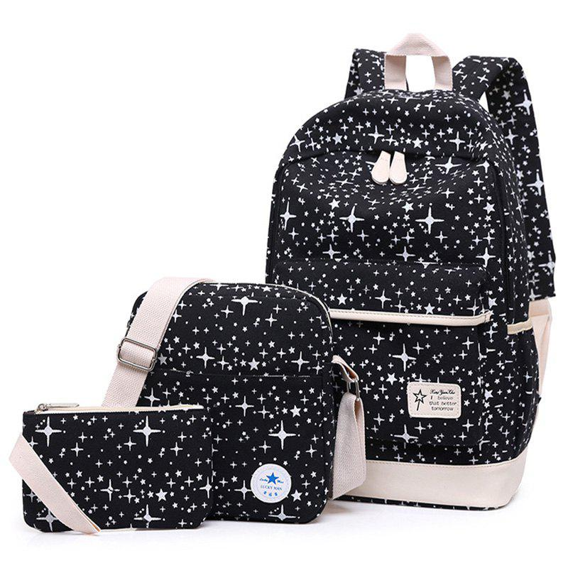 3 Pieces Star Print Canvas Backpack Set - BLACK
