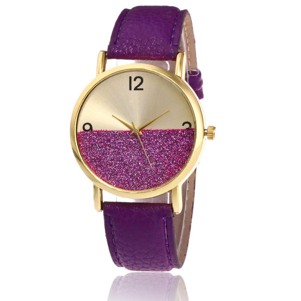 Montre à Paillettes en Similicuir - Pourpre