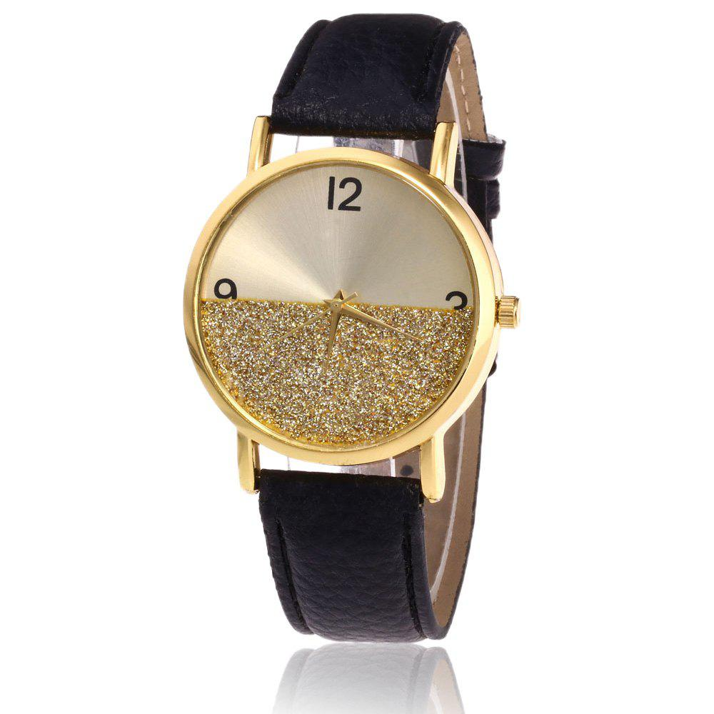 Faux Leather Glitter Face Watch - BLACK