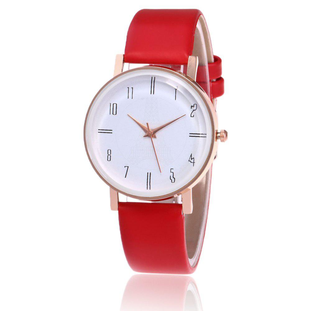 Faux Leather Minimalist Number Watch - RED