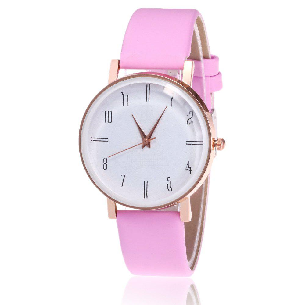 Faux Leather Minimalist Number Watch - PINK